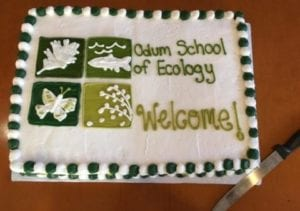 image of cake with Odum logo